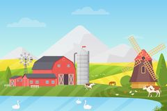 Agriculture, Agribusiness and Farming vector illustration concept. Rural cartoon landscape with animals and buildings. stock illustration