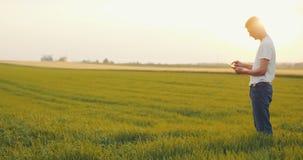 Agriculture - agriculteur masculin à l'aide du comprimé numérique dans le domaine banque de vidéos