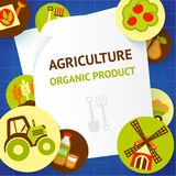 Agriculture background template. Farm fresh natural products organic agriculture food background template vector illustration Stock Photos