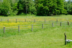 Agriculture in bavaria. Idyllic view of some fences leading your eyes into the picture Royalty Free Stock Image