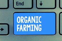 Agriculture biologique des textes d'écriture de Word Concept d'affaires pour un système d'exploitation agricole intégré qui essay photographie stock libre de droits
