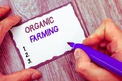 Agriculture biologique des textes d'écriture de Word Concept d'affaires pour un système d'exploitation agricole intégré qui essay photos stock
