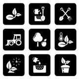 Agriculture black icon set Stock Image
