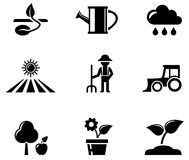 Agriculture black icons set Stock Photography