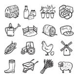 Agriculture Black White Icons Set Royalty Free Stock Photo