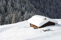 Agriculture, breeding, campaign, cattle, country,. Chalet under the snow in french alps in winter Stock Photography