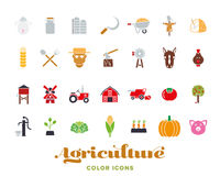 Agriculture color icon collection Royalty Free Stock Photo
