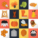 Agriculture color set icons on color background Stock Photography