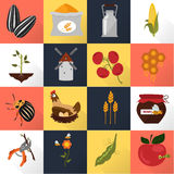 Agriculture color set icons on color background Royalty Free Stock Photos