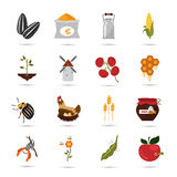 Agriculture color set icons on white background Stock Photo