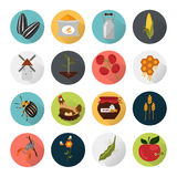 Agriculture color set icons on white background Stock Photography