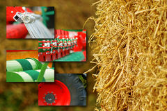 Agriculture concept. Collage with Agriculture motives - tractors, technical equipment, produce Stock Photography
