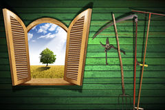 Agriculture Concept with Open Window Stock Image