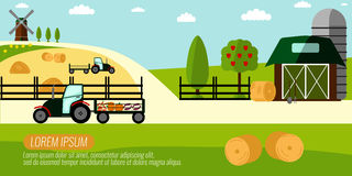 Agriculture d'agriculture et fond rural de paysage éléments pour Photos libres de droits