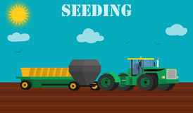 Agriculture design concept - seed planting process using a tractor and seeders. Stock Image