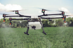Agriculture drone spraying water or pesticides to grow over green field. Stock Photography