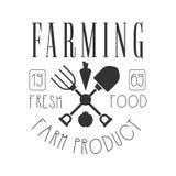 Agriculture du logo de produit de la ferme de nourriture fraîche Rétro illustration noire et blanche de vecteur Photo libre de droits