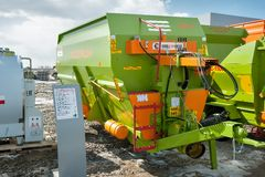 Agriculture equipment on exhibition. Tyumen Royalty Free Stock Photo