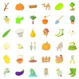 Agriculture farm icons set, cartoon style Stock Photos