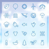 25 agriculture, farm icons set. 25 outline agriculture, farm icons set, blue on clouds background Royalty Free Stock Photography