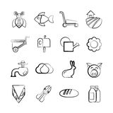 Agriculture and farm icons. Set of 16 agriculture and farm icons in sketch and pencil line vector illustration