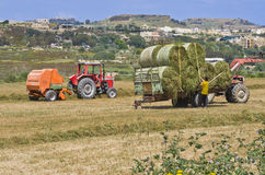 Agriculture. Farmers working in a field using lifters and tractors on the Maltese islands Stock Photo