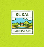 Agriculture and Farming. Agribusiness. Rural landscape. Design element. Rough Vector illustration. Stock Images