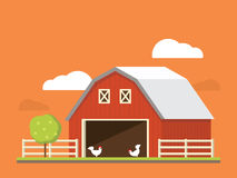 Agriculture and farming. Agribusiness. Rural landscape. Flat illustration. Stock Photography