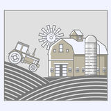 Agriculture and Farming. Agribusiness. Rural landscape in line art design Stock Image