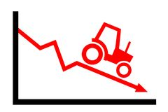 Agriculture / farming as descending and decreasing industry. Tractor and negative chart - agriculture / farming as descending and decreasing industry. Problem vector illustration
