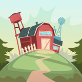 Agriculture And Farming, Barn Building Field Farmland Countryside Landscape Stock Photography