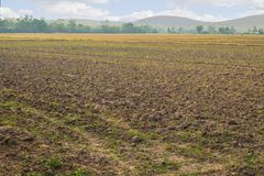 Agriculture farming field land soil countryside landscape. Agriculture farming field land after prepare the soil countryside landscape Stock Photo