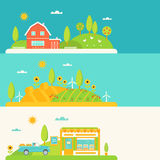 Agriculture and Farming Horizontal Banners Set Royalty Free Stock Photos