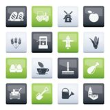 Agriculture and farming icons over color background. Vector icon set royalty free illustration