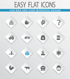 Agriculture and farming icons set. Agriculture and farming easy flat web icons for user interface design Royalty Free Stock Photography