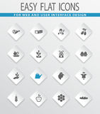 Agriculture and farming icons set. Agriculture and farming easy flat web icons for user interface design Royalty Free Stock Photo