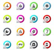 Agriculture and farming icons set. Agriculture and farming pointer on the color icons for your design Stock Image