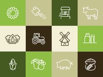 Agriculture and Farming icons set. Vector icons for digital and print projects Stock Photo