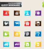 Agriculture and farming icons set. Agriculture and farming icons for your design glossy bookmarks Royalty Free Stock Photo