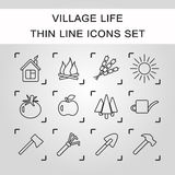 Agriculture and Farming icons. Thin line vector village life icon. EPS10 Stock Photography