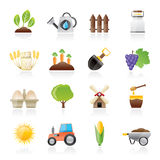Agriculture and farming icons. Vector icon set Stock Image
