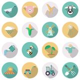 Agriculture and farming icons. Vector illustration. Agriculture and farming icons. Flat style with long shadows. Vector illustration Royalty Free Stock Images