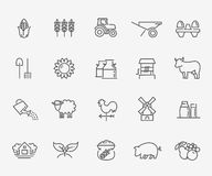 Agriculture and Farming icons. Vector line icons. Agriculture and Farming icons Stock Photos