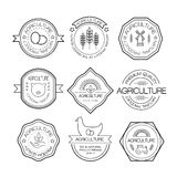 Agriculture and farming logos in linear style Stock Images