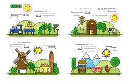 Agriculture and Farming. Vector illustration of Agriculture and Farming icons Stock Photo