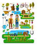 Agriculture and Farming. Vector illustration of Agriculture and Farming icons Stock Photography