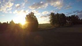 Agriculture farmland landscape and morning sunrise. Timelapse 4K