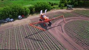 Agriculture fertilizer spreader. Fertilizer agriculture for irrigation field stock footage