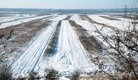 Agriculture field under snow stock photography