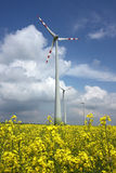 Agriculture field and wind mill power turbine. Under cloudy sky Stock Photos